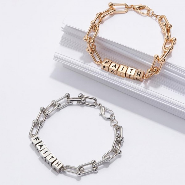 """Metal Chain Bracelet Featuring Cubed Letter Beads that Spell """"FAITH"""".   - Approximately 3"""" in Diameter  - Lobster Clasp Closure  - Adjustable 2.5"""" Extender"""
