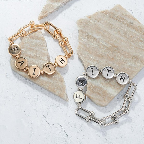 """Chain Link Bracelet Featuring Metal Letter Beads that Spell """"Faith"""".   - Approximately 3"""" in Diameter"""