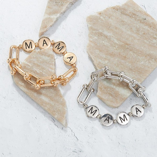 "Chain Link Bracelet Featuring Metal Letter Beads that Spell ""Mama"".   - Approximately 3"" in Diameter"
