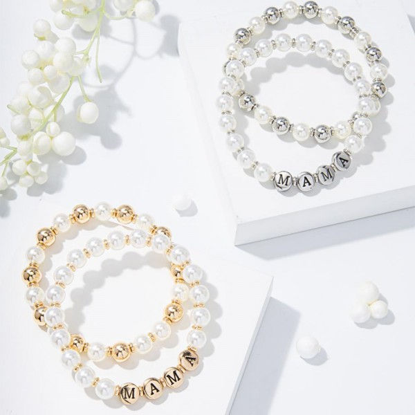 """Set of Two Beaded Bracelets Featuring Faux Pearl Accents and Metal Letter Beads that Say """"Mama"""".   - Approximately 3"""" in Diameter"""