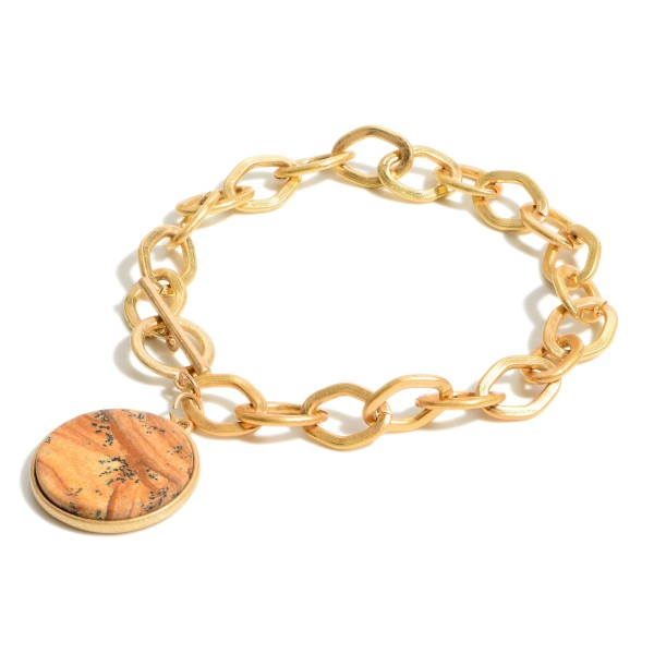 "Gold Chain Link Bracelet Featuring Natural Stone Pendant.   - Approximately 2.5"" Diameter  Toggle Closure"