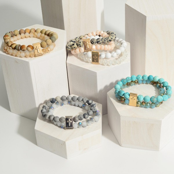 """Double Strand Stretch Bracelet Featuring Natural Stone Accents and Gold Cross Detail.   - Approximately 3"""" in Diameter"""
