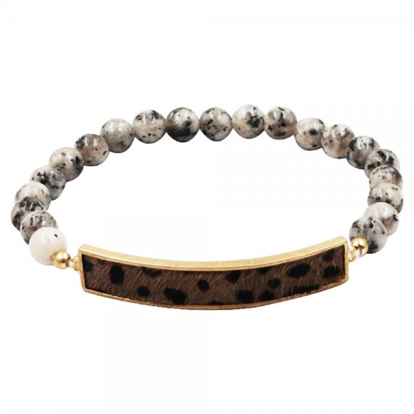 """Beaded Natural Stone Stretch Bracelet Featuring Cheetah Print Accent.   - Approximately 2.5"""" in Diameter"""