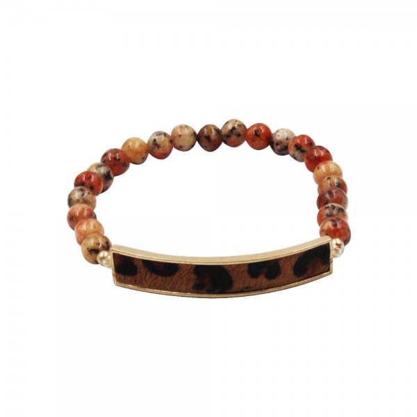 """Beaded Natural Stone Stretch Bracelet Featuring Leopard Print Accent.   - Approximately 2.5"""" in Diameter"""