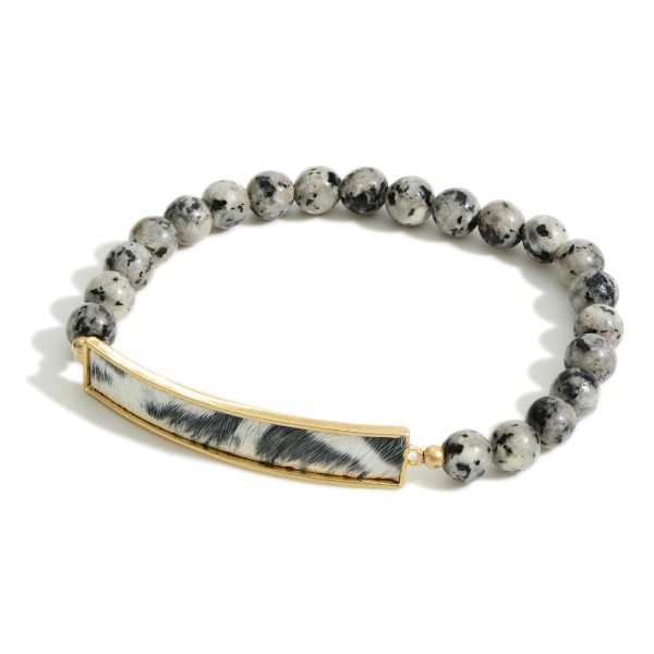 "Natural Stone Inspired Beaded Bracelet Featuring Genuine Leather Animal Print Bar Accent.   - Approximately 3"" in Diameter"
