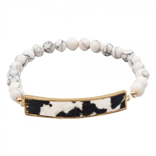 """Natural Stone Inspired Beaded Bracelet Featuring Genuine Leather Animal Print Bar Accent.   - Approximately 3"""" in Diameter"""