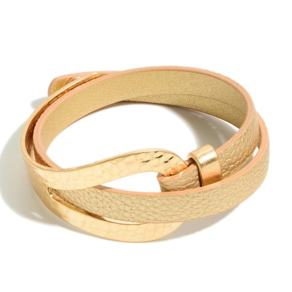 "Leather Bracelet Featuring Hammered Gold Accents.   - Approximately 3"" in Diameter - Snap Button Closure"