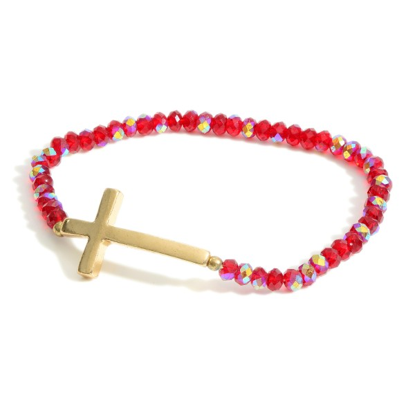 "Beaded Bracelet Featuring Gold Cross Accent.   - Approximately 3"" in Diameter"
