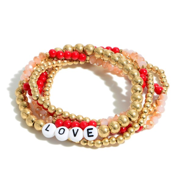 "Set of Five Beaded Stretch Bracelets Featuring Letter Beads That Spell ""LOVE"".   - Approximately 3"" in Diameter"