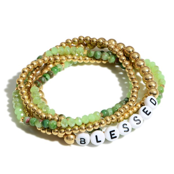 "Set of Five Beaded Bracelets Featuring Letter Beads that Spell ""Blessed""  - Approximately 3"" in Diameter"