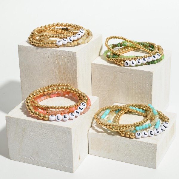 """Set of Five Beaded Bracelets Featuring Letter Beads that Spell """"Blessed""""  - Approximately 3"""" in Diameter"""