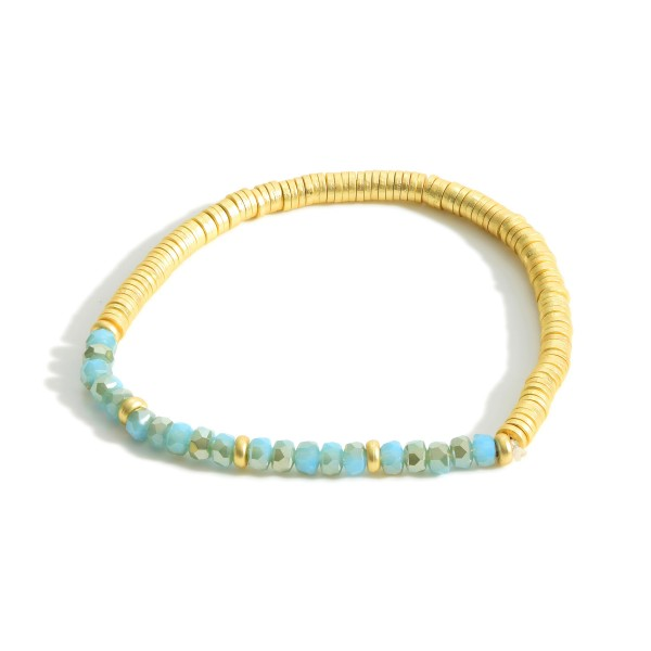 "Stretch Bracelet Featuring Heishi Bead Accents and Iridescent Bead Details.   - Approximately 2.5"" in Diameter"