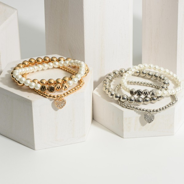 """Set of Three Beaded Bracelets Featuring Faux Pearls, Pave CZ Heart Pendant, and Gold Letter Beads that Say """"Mama"""".   - Approximately 3"""" in Diameter"""
