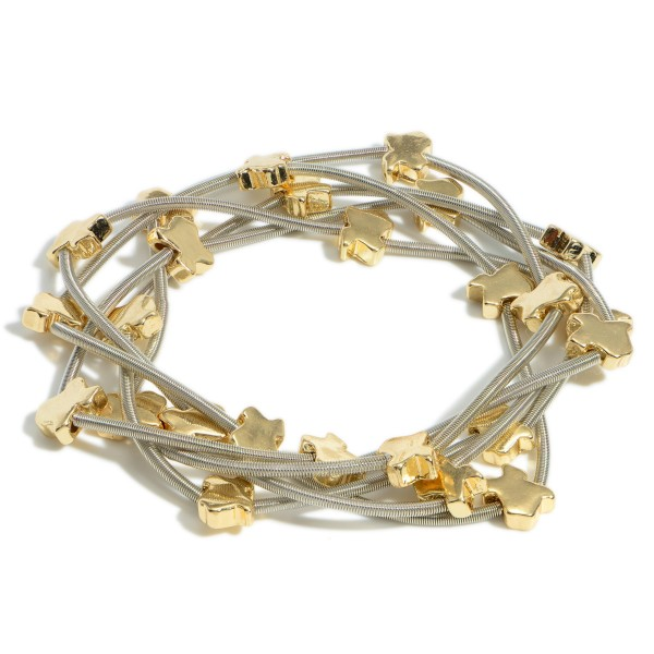 """Set of Five Metal Wire Bracelets Featuring Texas-Shaped Accents.   - Approximately 3"""" in Diameter"""