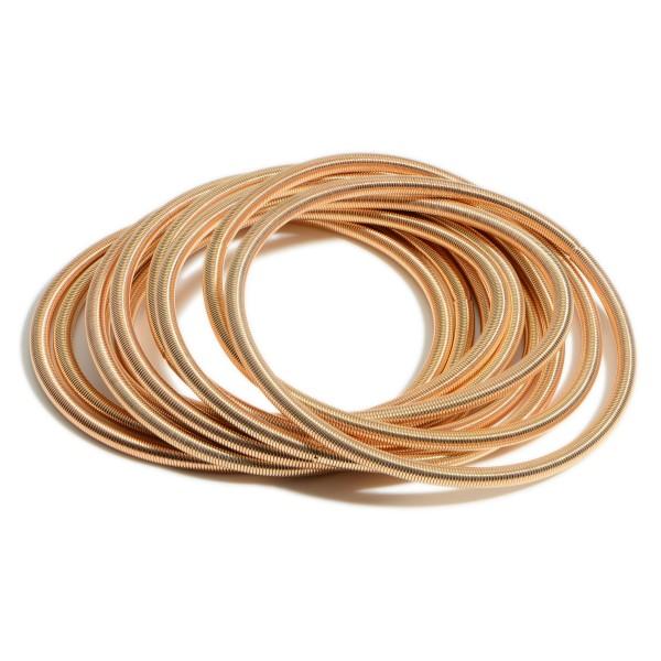 """Set of Ten Metal Wire Bracelets.   - Approximately 3"""" in Diameter"""