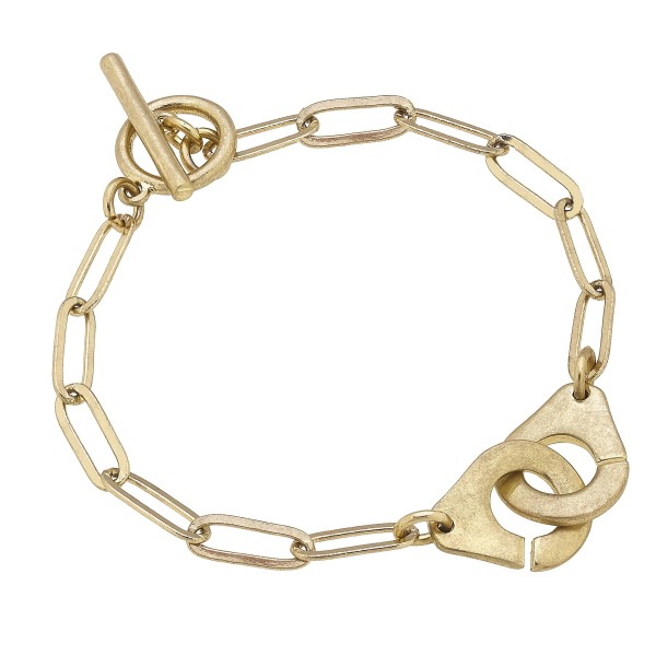 """Chain Link Bracelet Featuring Interlocking Metal Accent.   - Approximately 3"""" in Diameter"""
