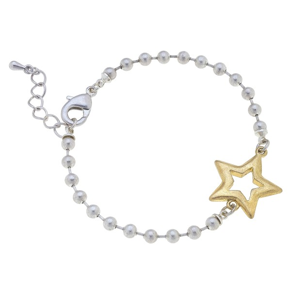 """Ball Chain Bracelet Featuring Gold Star Accent.   - Approximately 3"""" in Diameter"""