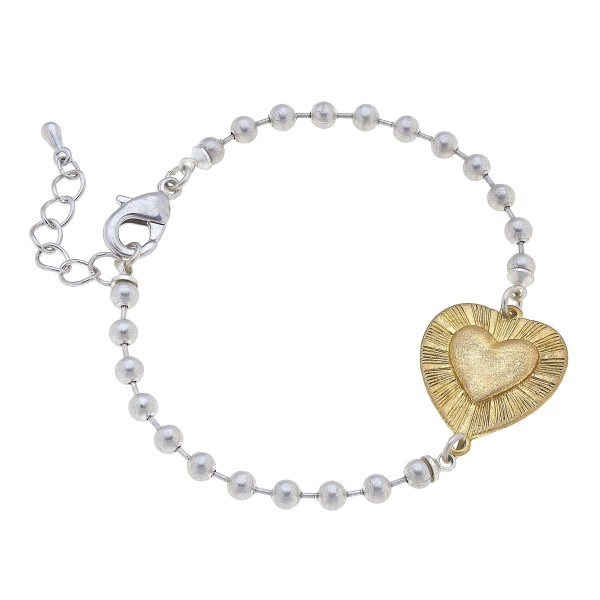 """Ball Chain Bracelet Featuring Gold Heart Accent.   - Approximately 3"""" in Diameter"""