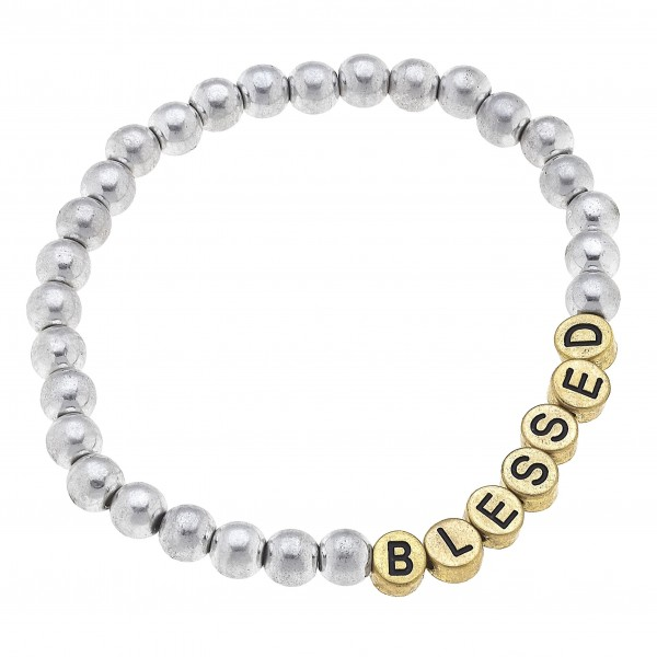 """Metallic Bead Inspirational Bracelet Featuring Gold Letter Beads that say """"Blessed"""".   - Approximately 3"""" in Diameter"""