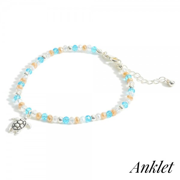 """Beaded Anklet Featuring Silver Sea Turtle Accent.   - Approximately 3"""" in Diameter"""