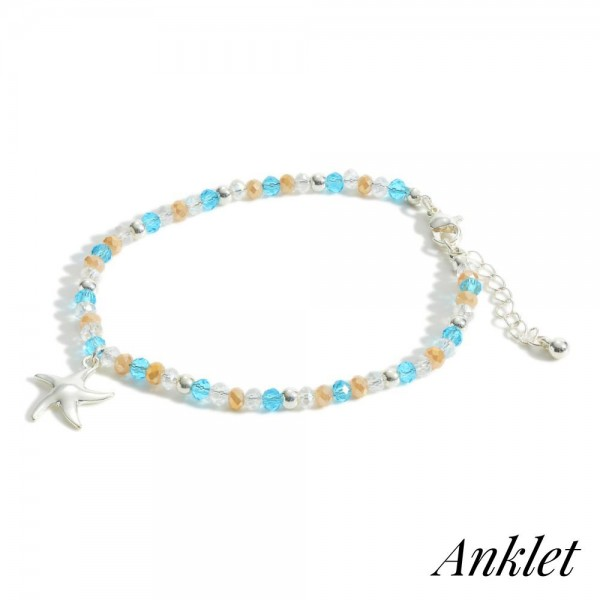 """Beaded Anklet Featuring Silver Starfish Accent.   - Approximately 3"""" in Diameter"""