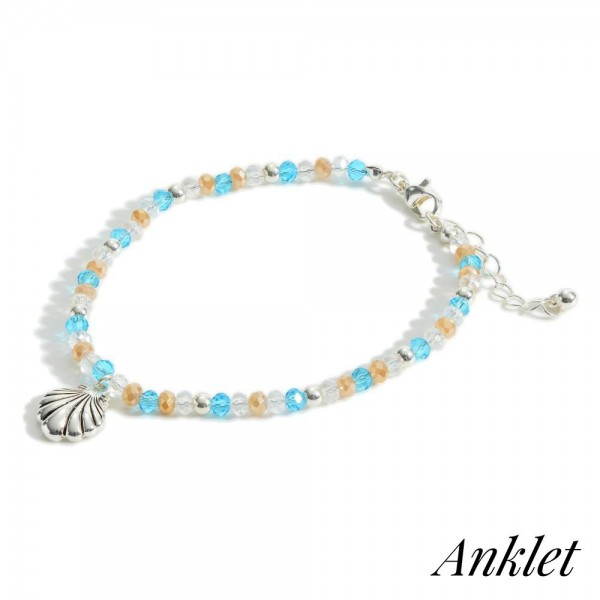 """Beaded Anklet Featuring Silver Seashell Accent.   - Approximately 3"""" in Diameter"""