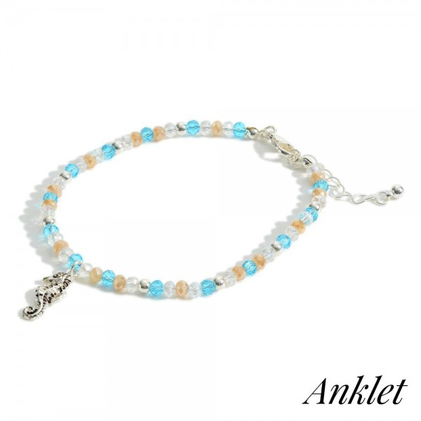 Wholesale beaded Anklet Silver Sea Horse Accent Diameter