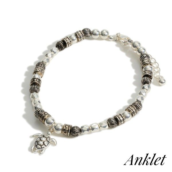 """Silver Beaded Anklet Featuring Sea Turtle Accent.   - Approximately 3.5"""" in Diameter  - Adjustable 2"""" Extender"""
