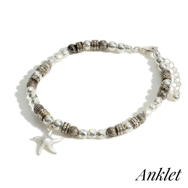"""Silver Beaded Anklet Featuring Starfish Accent.   - Approximately 3.5"""" in Diameter  - Adjustable 2"""" Extender"""