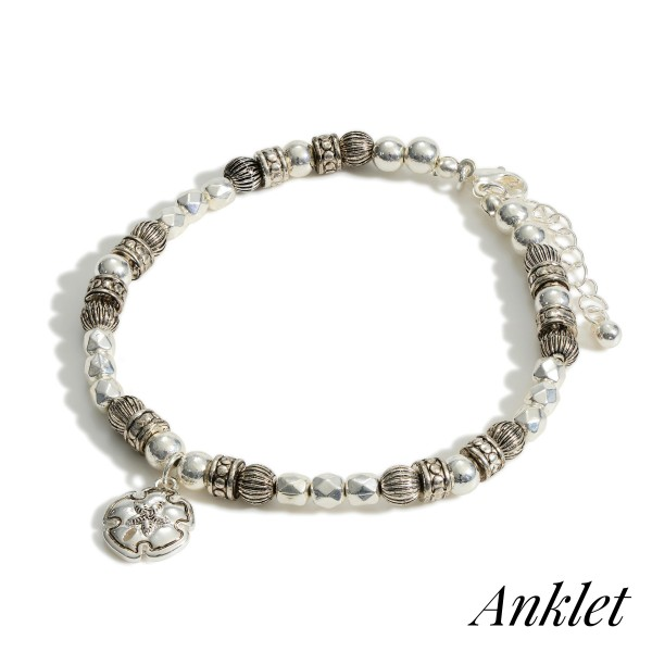 """Silver Beaded Anklet Featuring Seashell Accent.   - Approximately 3.5"""" in Diameter  - Adjustable 2"""" Extender"""
