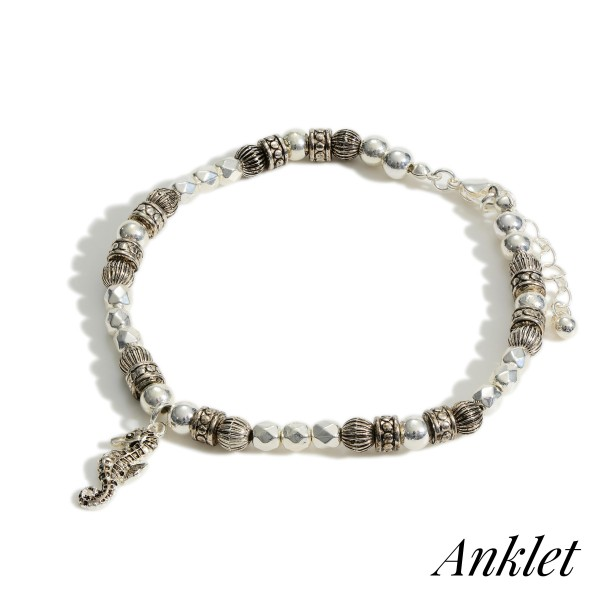 """Silver Beaded Anklet Featuring Sea Horse Accent.   - Approximately 3.5"""" in Diameter  - Adjustable 2"""" Extender"""