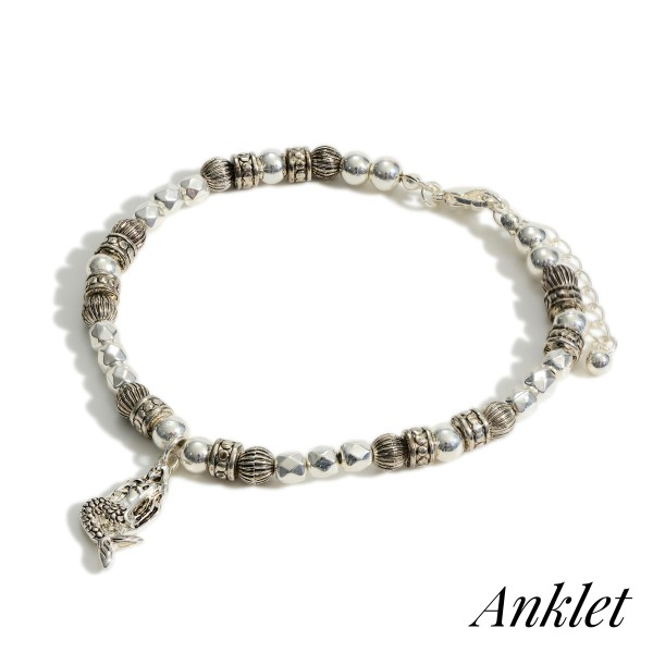 """Silver Beaded Anklet Featuring Mermaid Accent.   - Approximately 3.5"""" in Diameter  - Adjustable 2"""" Extender"""