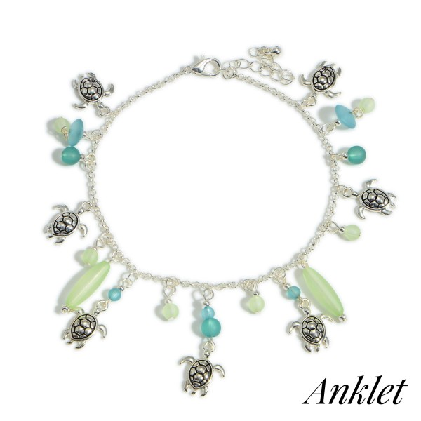 """Silver Anklet Featuring Sea Turtle Accents and Beaded Details.   - Approximately 4"""" in Diameter"""