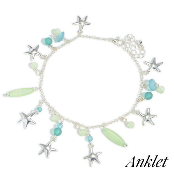 Wholesale silver Anklet Star Fish Accents Beaded Details Diameter