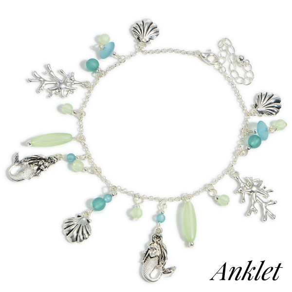 """Silver Anklet Featuring Seashell and Mermaid Accents with Beaded Details.   - Approximately 4"""" in Diameter"""