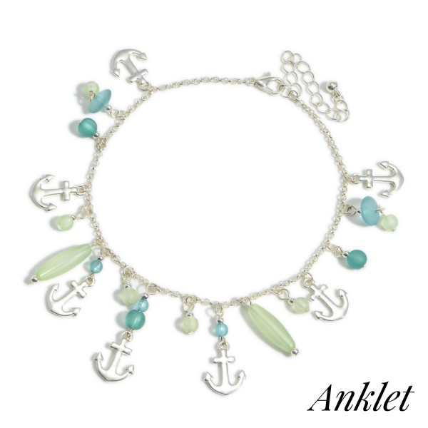 """Silver Anklet Featuring Anchor Accents and Beaded Details.   - Approximately 4"""" in Diameter"""