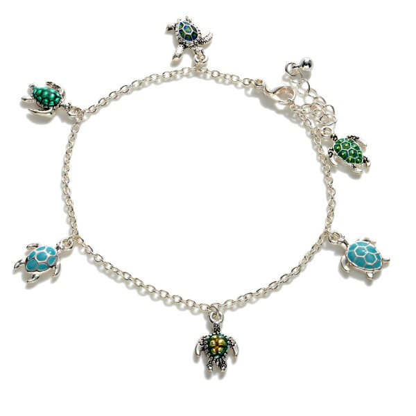 """Silver Anklet Featuring Sea Turtle Charms.   - Approximately 4"""" in Diameter"""