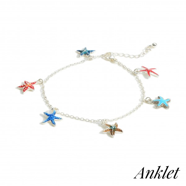 """Silver Anklet Featuring Starfish Charms.   - Approximately 4"""" in Diameter"""