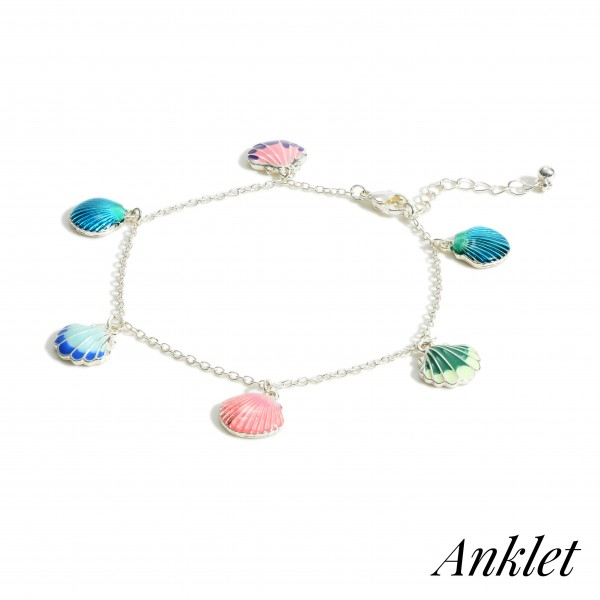 """Silver Anklet Featuring Seashell Charms.   - Approximately 4"""" in Diameter"""