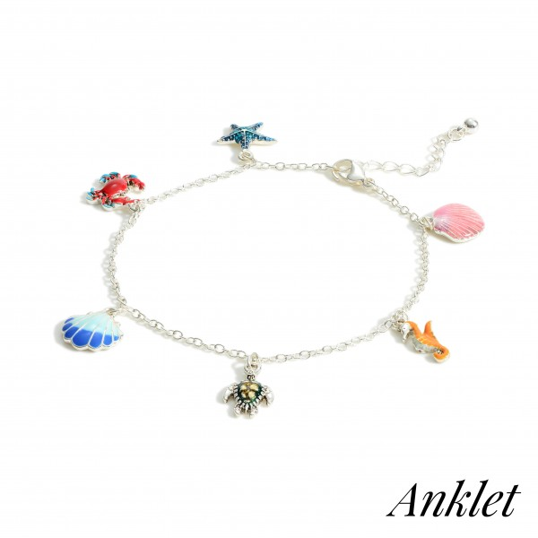 """Silver Anklet Featuring Sealife Charms.   - Approximately 4"""" in Diameter"""