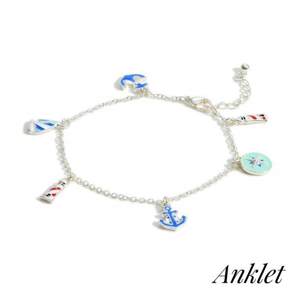"""Silver Anklet Featuring Nautical Themed Charms.   - Approximately 4"""" in Diameter"""