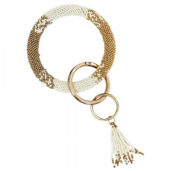 """Seed Bead Key Ring Featuring Seed Bead Tassel.   - Holds Keys - Can Wear on Wrist, Attach to Bags or Purses - Approximately 3.5"""" in Diameter"""