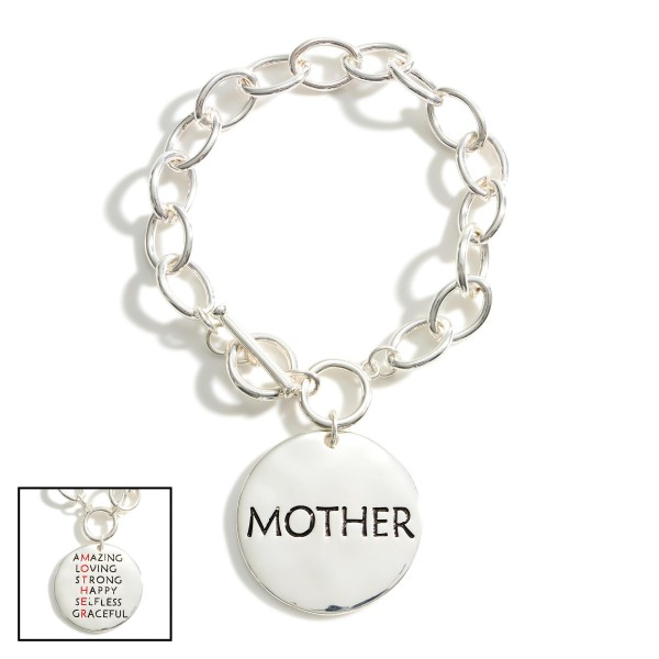 """Silver Chain Bracelet With Toggle Clasp Featuring """"Mother"""" Pendant.   - Approximately 3"""" in Diameter"""