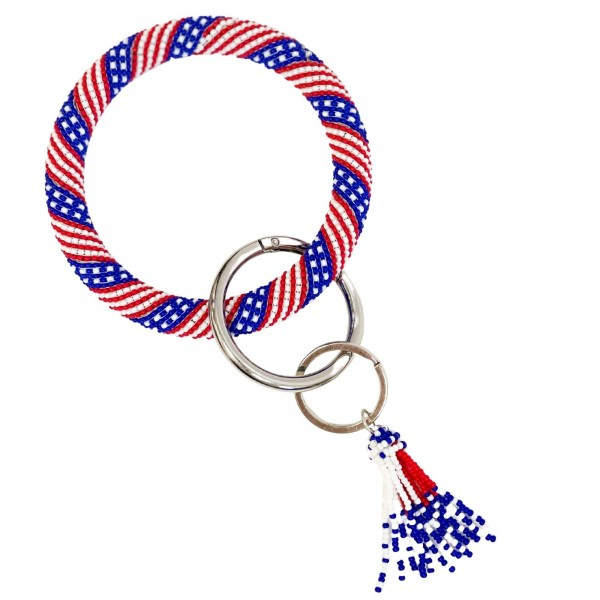 """USA Themed Seed Bead Key Ring Featuring Seed Bead Tassel.   - Holds Keys - Can Wear on Wrist, Attach to Bags or Purses - Approximately 3.5"""" in Diameter"""