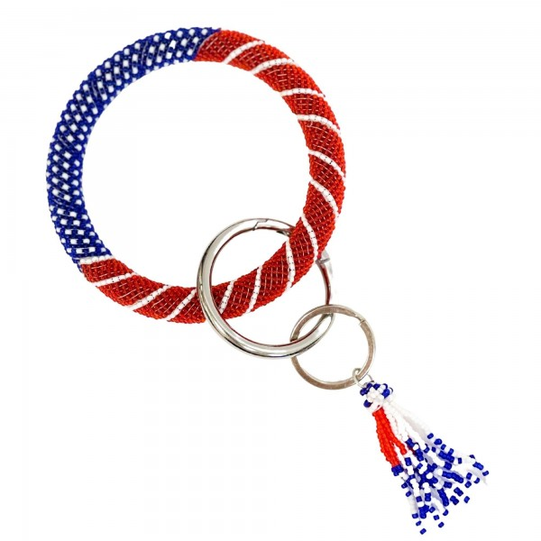 "USA Themed Seed Bead Key Ring Featuring Seed Bead Tassel.   - Holds Keys - Can Wear on Wrist, Attach to Bags or Purses - Approximately 3.5"" in Diameter"