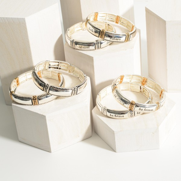 """Silver Stretch Bracelet Featuring Engraved Accents and Says """"Blessed, Faith, Believe"""".   - Approximately 3"""" in Diameter"""