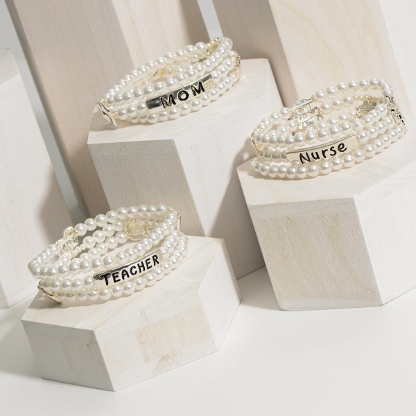 """Triple Strand Faux Pearl Bracelet with Silver Accents that Say """"Mom"""".   - Approximately 3"""" Diameter"""