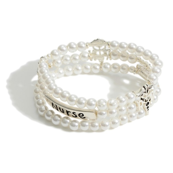 "Triple Strand Faux Pearl Bracelet with Silver Accents that Say ""Nurse"".   - Approximately 3"" Diameter"
