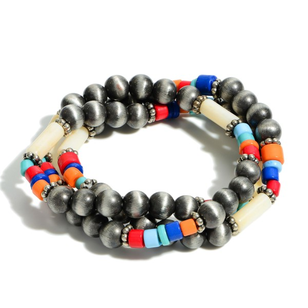 "Set of Three Beaded Stretch Bracelets Featuring Multicolor Accents.   - Approximately 3"" Long"