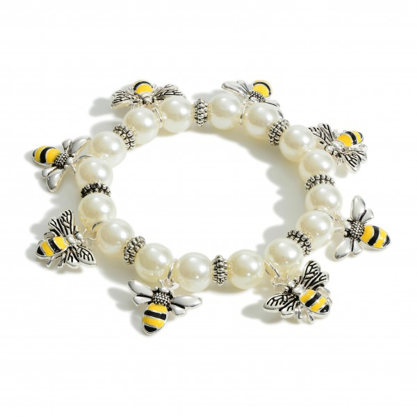 """Faux Pearl Stretch Bracelet Featuring Bee Charms.   - Approximately 3"""" in Diameter"""